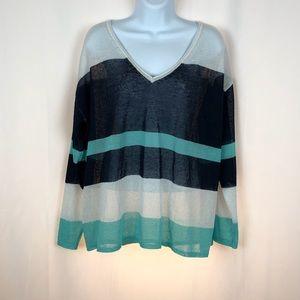 525 America sheer linen blend V-neck sweater L